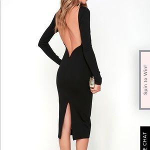 Lulu's Va Va Voom Black Backless Midi Dress
